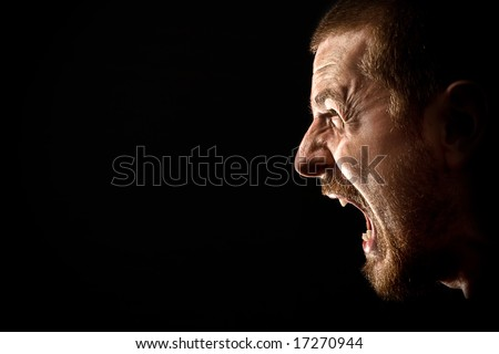 Rage Scream of Angry Man - stock photo