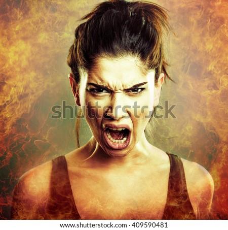 Rage Scream of Angry Woman - stock photo