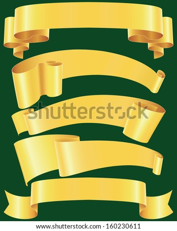 Ragged gold banners set - stock photo