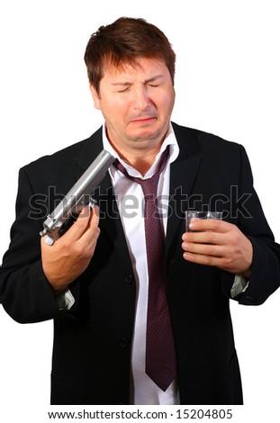 Ragged suicidal businessman - stock photo
