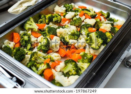 Ragout of vegetables on the deck - stock photo