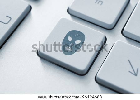 Raiders attack key on the keyboard. Toned Image. - stock photo