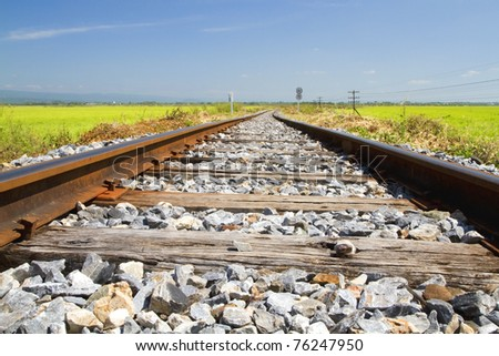 Rail and the sky. - stock photo