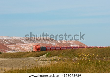 Rail Cars at the Potash Mine - stock photo
