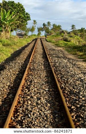 Rail de chemin de fer à la gare d'Ambilo à Madagascar - stock photo