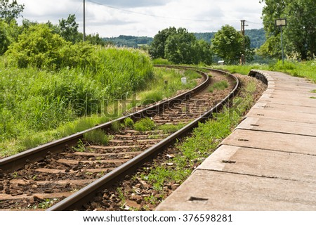 Rail details of rural regional train railway line