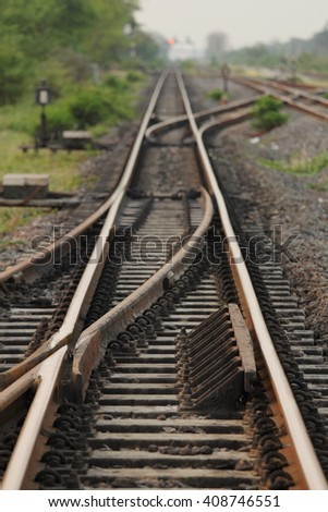 Rail gauge 1000 mm in Thailand. - stock photo