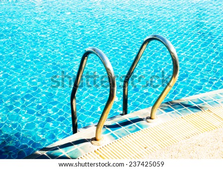 rail in swimming pool  - stock photo