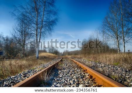 Rail railroad rails afar - stock photo