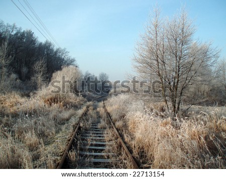 Rail road at winter time