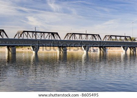 Rail Road Bridge over Salt River (Tempe Lake), Arizona - stock photo