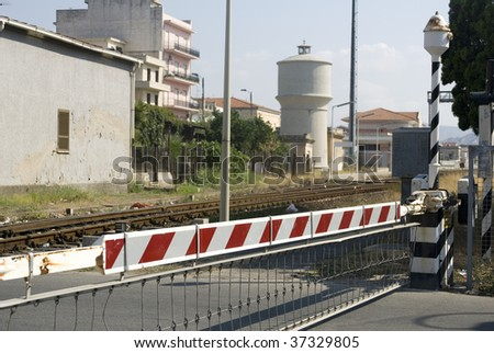rail road crossing - stock photo