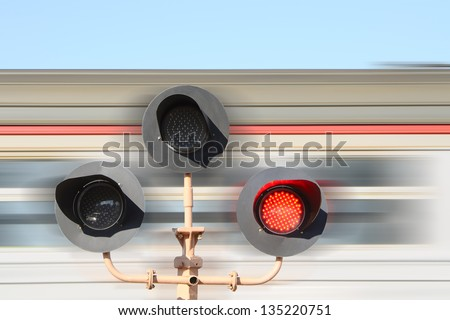 Rail road crossing flashing - stock photo