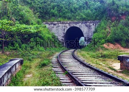 Rail road tunnel Demodara Nine Arch Bridge, Gotuwala, Ella, Sri Lanka - stock photo