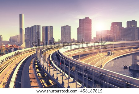 rail track and cityscape  of Tokyo during sunset, view from monrail