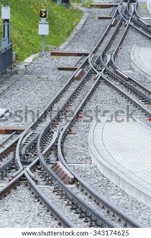rail track in train station - stock photo