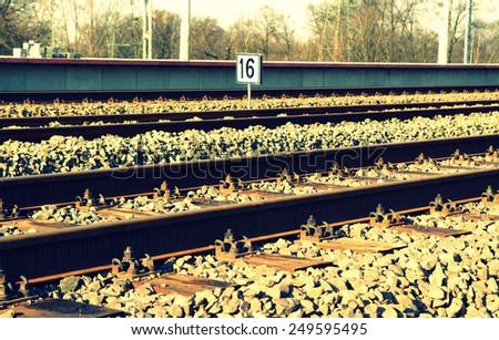 Rail track on 16th kilometer - stock photo