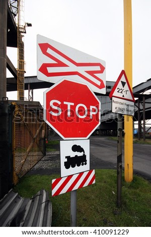 Rail track safety stop sign.