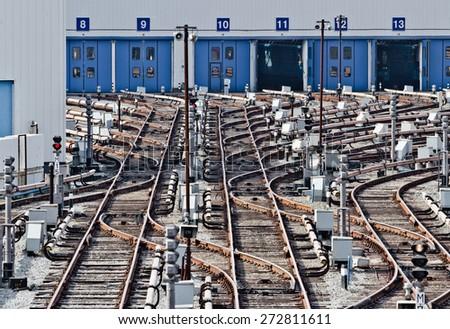 Rail tracks in subway depot, Kiev - stock photo
