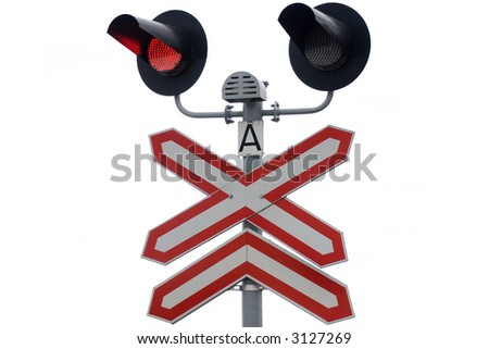 rail traffic lights isolated on white - stock photo