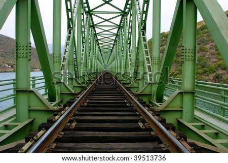 rail train on a bridge - stock photo