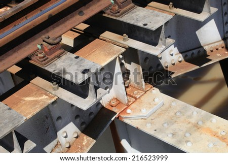 Rail way on steel supporting. - stock photo