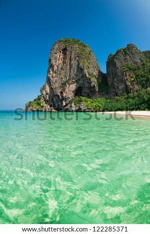 Railay beach in Krabi, Thailand - stock photo