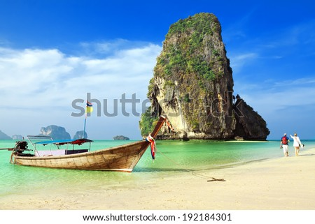 Railay beach. Krabi, Thailand - stock photo