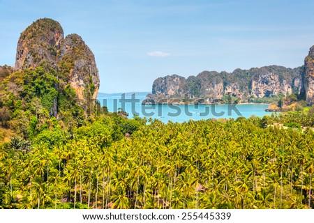 Railay west beach viewpoint, Krabi, Andaman sea Thailand  - stock photo