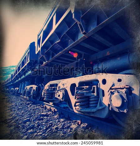 railcars for the delivery of iron ore from the pit mine - stock photo