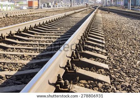 Railroad and railway sleepers - stock photo