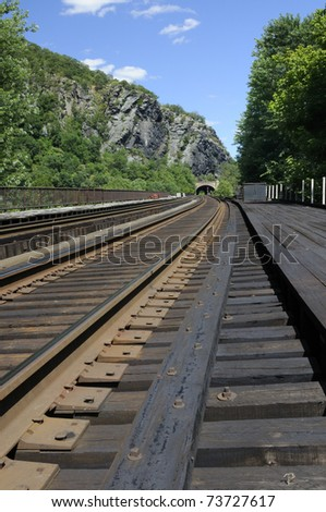 Railroad bridge at Harpers Ferry, West Virginia looking towards Maryland - stock photo