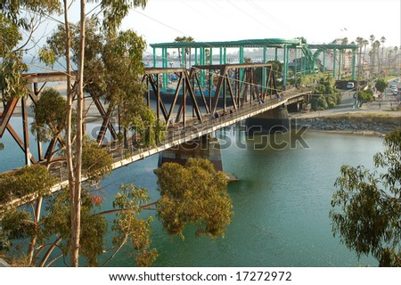 Railroad bridge; Santa Cruz, California - stock photo