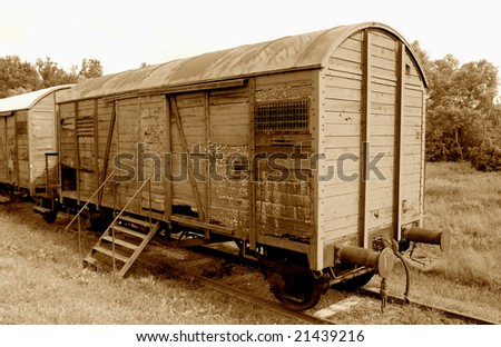 Railroad car used during the Holocaust -sepia version - stock photo