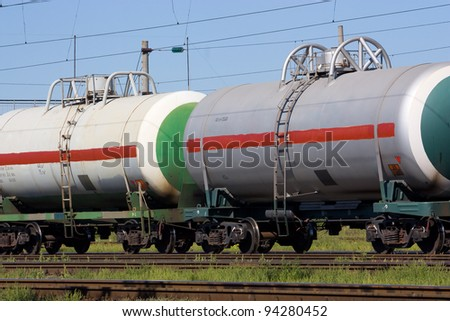 railroad cars for transportation of liquefied natural gas - stock photo