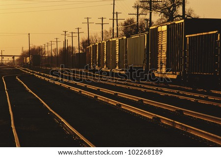 Railroad cars on tracks