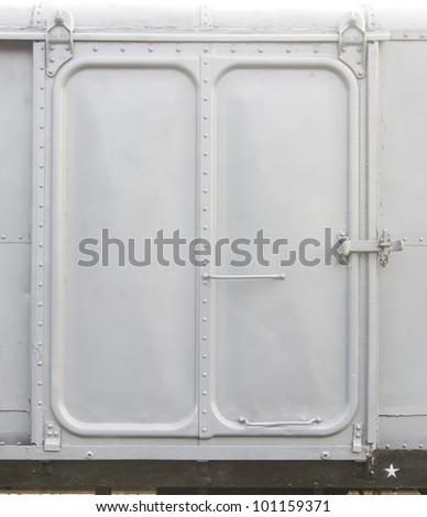 railroad container doors with rusty and gray color. - stock photo