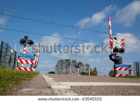 Railroad crossing - stock photo