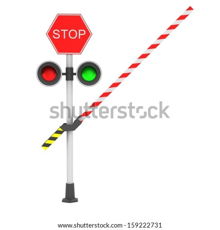 Railroad crossing barrier over white background - stock photo