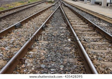 Railroad crossing, Location  kanganaburi , Thailand. - stock photo