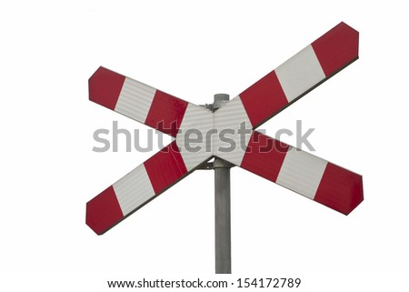 Railroad crossing sign isolated on a white background - stock photo