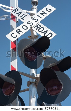 Railroad crossing signal - stock photo