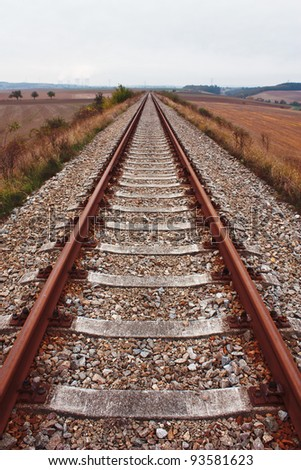Railroad Ending in the Distance - stock photo