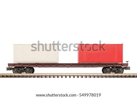 Railroad Flat Car with Container Load