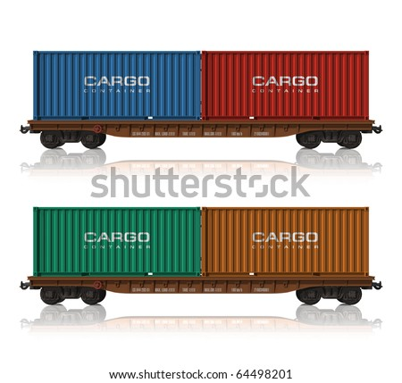 Railroad flatcars with cargo containers - stock photo