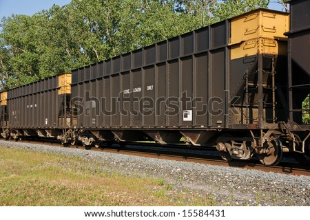 Railroad Hopper Cars Used For  Delivering Coke To Steel Mills - stock photo