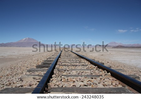 Railroad in Atacama Desert, Uyunu, Bolivia - stock photo