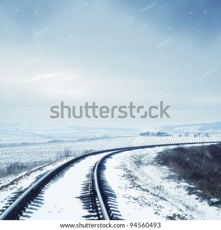 railroad in snow - stock photo