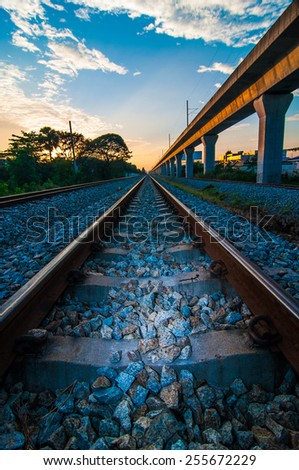 Railroad  in Thailand. - stock photo