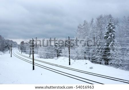 railroad in winter - stock photo